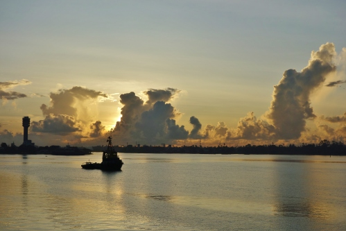 Sunrise over Dar es Salaam harbour