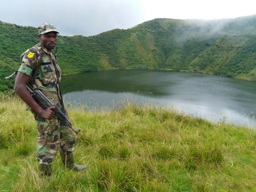 Climbing Bisoke with the Rwanda army for protection