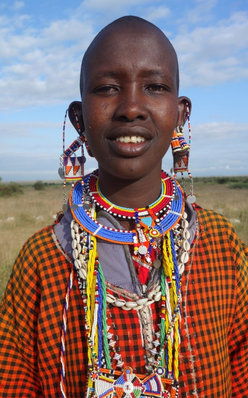 Masai lady selling jewelry just outside the park