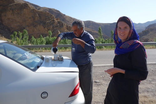 Taxi man offers us a last tea in Iran before entering Turkmenistan