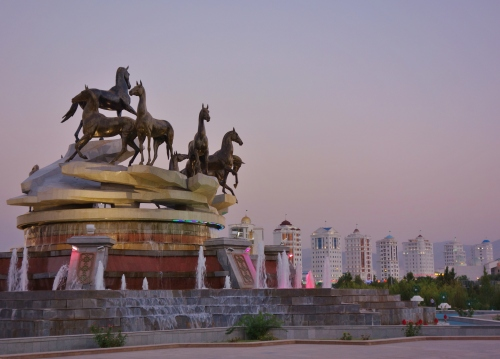 Ashgabat goes from wedding gown white to neon colours at night