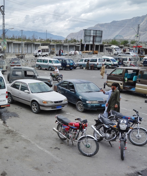 The bus depot in Gilgit
