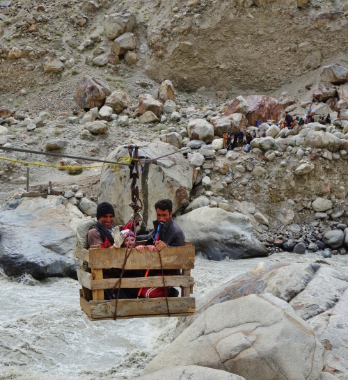 Basket river crossing in Pakistan