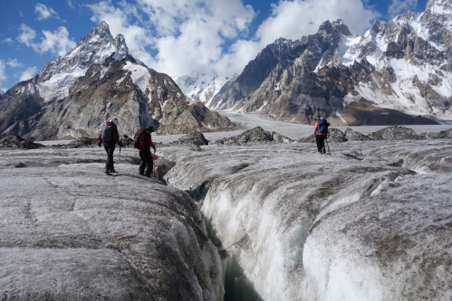 crevasse crossing in Biafo Glacier