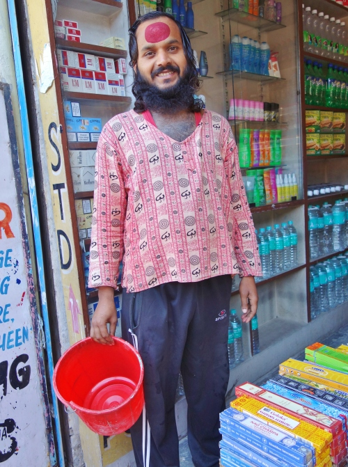 Our Shopkeeper with the biggest Bindi I have ever seen