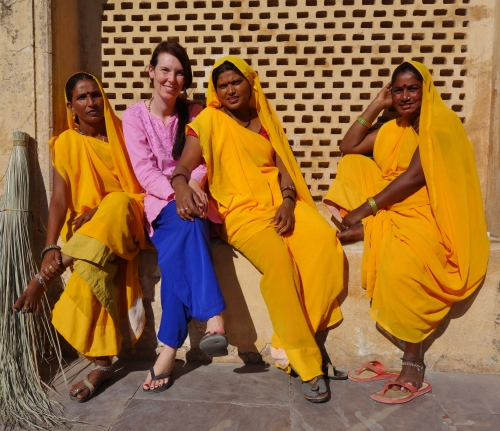 Safron Ladies at the Hawa Mahal