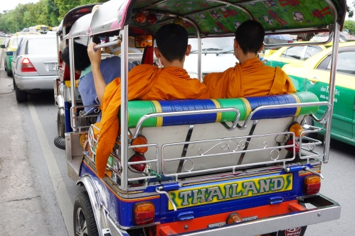 Monks in Bangkok getting a ride home